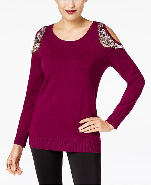 ac795c1add7c88 ... Thalia Sodi Embellished Cold-Shoulder Sweater