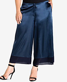Standards and Practices Trendy Plus Size Satin Wide-Leg Pants