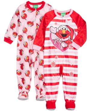 Sesame Street 2Pk Elmo Footed Coveralls Toddler Girls (2T5T)