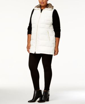 Image of Charter Club Plus Size Faux-Fur-Collar Puffer Vest, Created for Macy's
