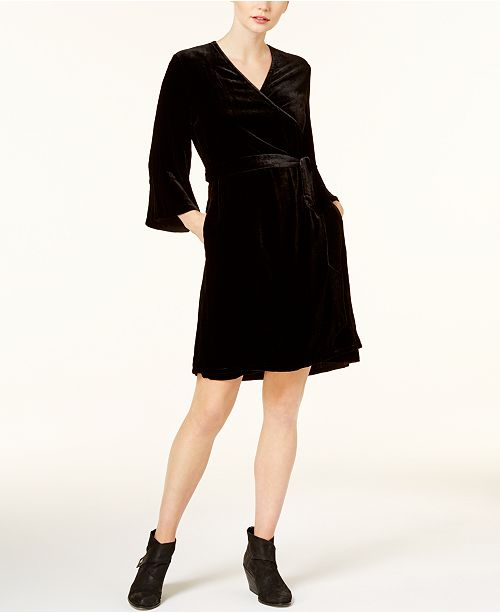 Velvet Surplice Wrap Dress, Regular & Petite