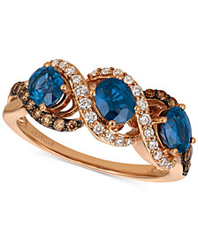 Le Vian Chocolatier® Blueberry Sapphire™ (1-1/5 ct. t.w.) & Diamond (3/8 ct. t.w.) Ring in 14k Rose Gold