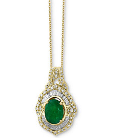 Brasilica by EFFY® Emerald (1-1/8 ct. t.w.) & Diamond (1/2 ct. t.w.) Pendant Necklace in 14k Gold