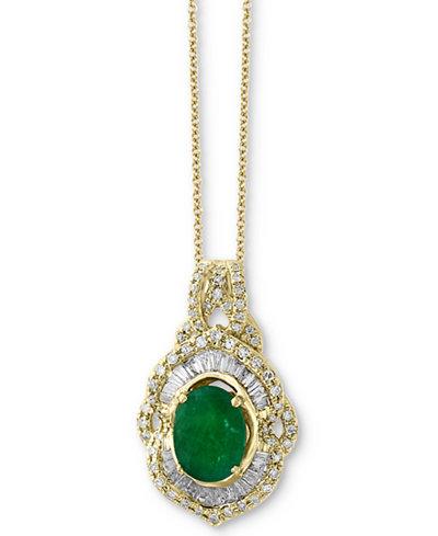 Brasilica by EFFY® Emerald (1-1/8 ct. t.w.) & Diamond (1/2 ct. t.w.) Pendant Necklace in 14k Gold