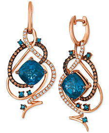 Le Vian Crazy Collection® Deep Sea Blue Topaz™ (7-1/2 ct. t.w.) & Diamond (1 ct. t.w.) Drop Earrings in 14k Rose Gold
