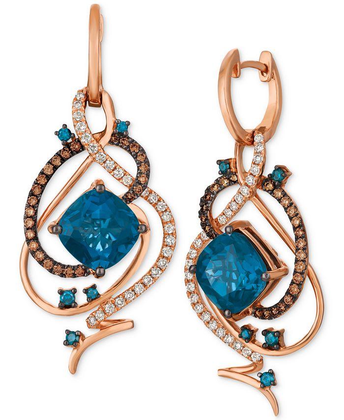 Le Vian - Deep Sea Blue Topaz™ (7-1/2 ct. t.w.) & Diamond (1 ct. t.w.) Drop Earrings in 14k Rose Gold