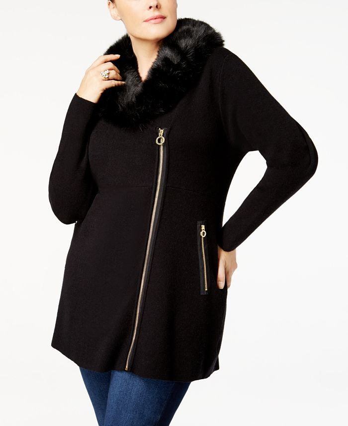 Belldini - Plus Size Faux-Fur-Trim Cardigan