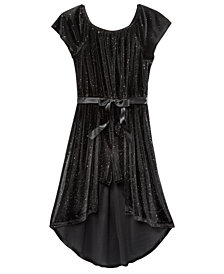 Kandy Kiss Glitter-Velvet Maxi-Overlay Romper, Big Girls