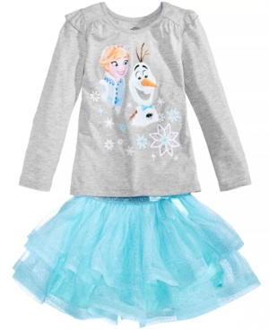 Disney 2Pc Frozen Elsa  Olaf TShirt  GlitterSkirt Set Little Girls (46X)