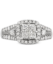 Diamond Square Cluster Engagement Ring (1-1/3 ct. t.w.) in 14k White Gold