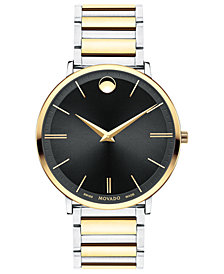 Movado Men's Swiss Ultra Slim Two-Tone PVD Stainless Steel Bracelet Watch 40mm