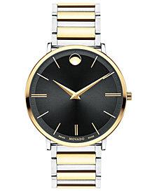 Movado Men's Swiss Ultra Slim Two-Tone PVD Stainless Steel Bracelet Watch 40mm