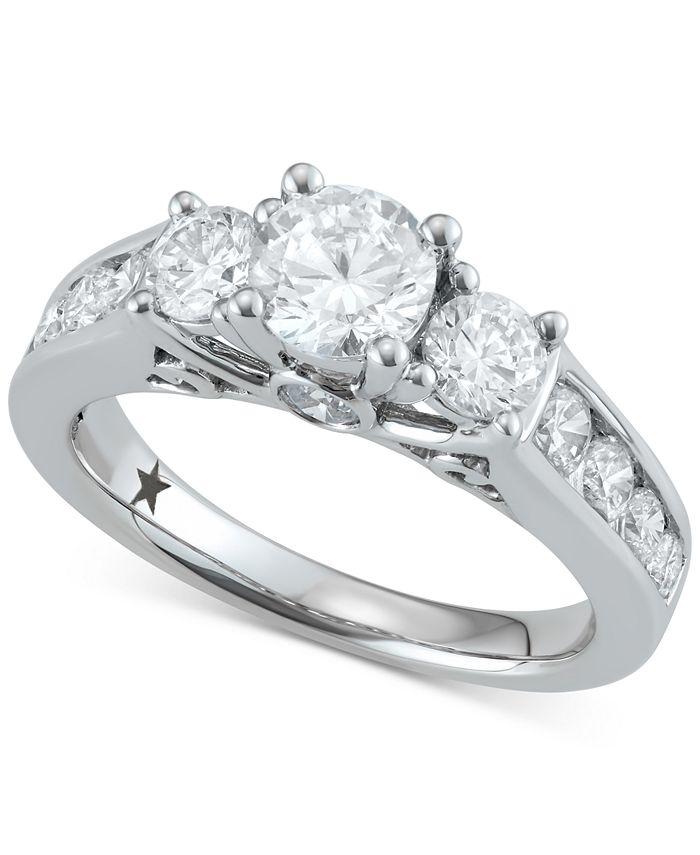 Macy's Star Signature Diamond - ™ Trinity Engagement Ring (2 ct. t.w.) in 14k White Gold
