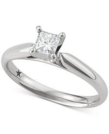 Macy's Star Signature Diamond™ Princess Cut Solitaire Engagement Ring (1/2 ct. t.w.) in 14k White Gold, SI2 Clarity