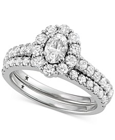 Oval Cut Halo Engagement Bridal Set (2 ct. t.w.) in 14k White Gold