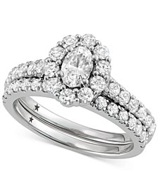 Macy's Star Signature Diamond™ Oval Cut Halo Engagement Bridal Set (2 ct. t.w.) in 14k White Gold