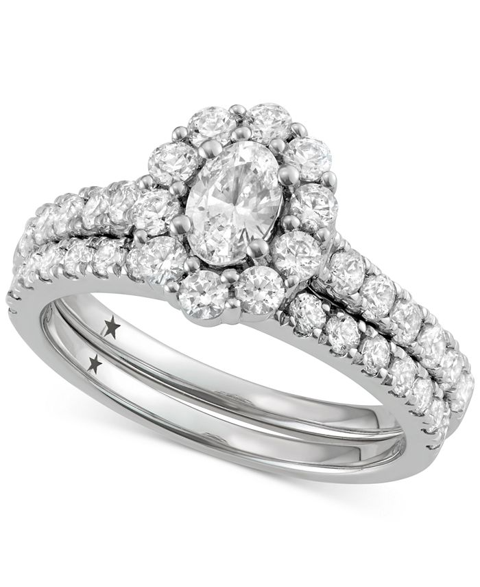 Macy's Star Signature Diamond - ™ Halo Engagement Bridal Set (2 ct. t.w.) in 14k White Gold
