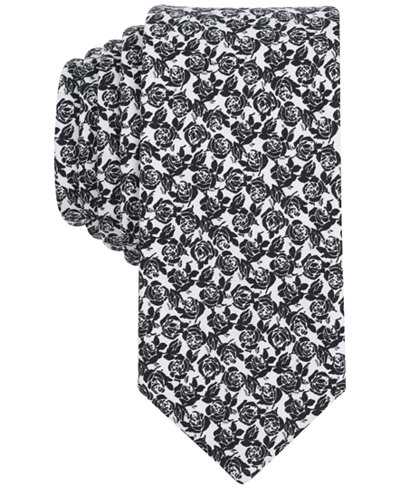 Bar III Men's Cabbage Rose Floral Skinny Silk Tie, Created for Macy's