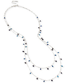 Kenneth Cole New York Hematite-Tone Dark Stone & Bead Double-Layer Necklace