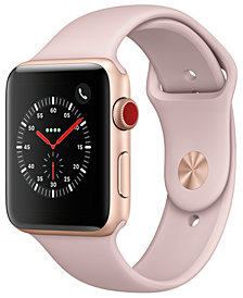 Apple Watch Series 3 (GPS + Cellular),  42mm Gold Aluminum Case with Pink Sand Sport Band