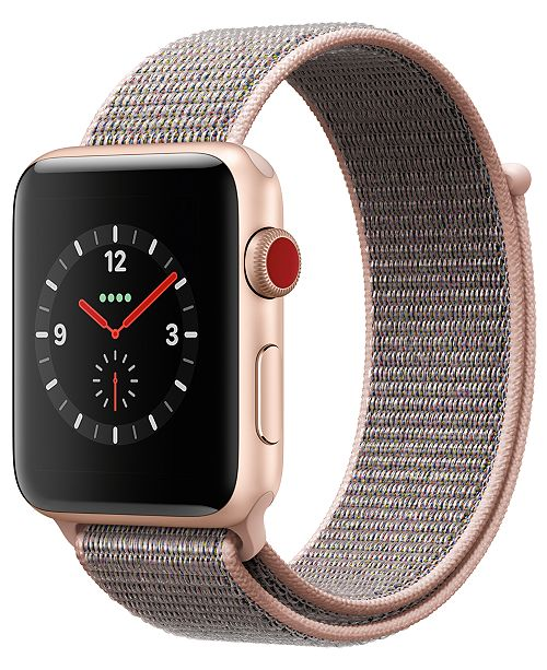 Apple Watch Series 3 (GPS + Cellular),  42mm Gold Aluminum Case with Pink Sand Sport Loop