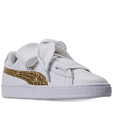 Puma Women's Basket Heart Glitter Casual Sneakers from Finish Line