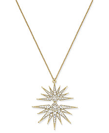 Joan Boyce Gold-Tone Crystal Split-Starburst Pendant Necklace