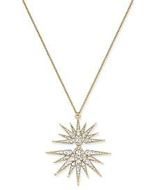 Joan Boyce Gold-Tone Crystal Split-Starburst Pendant Necklace