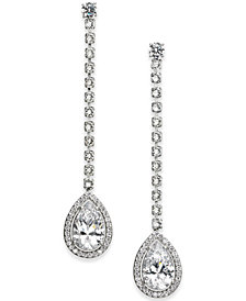 Danori Silver-Tone Teardrop Crystal Linear Drop Earrings, Created for Macy's