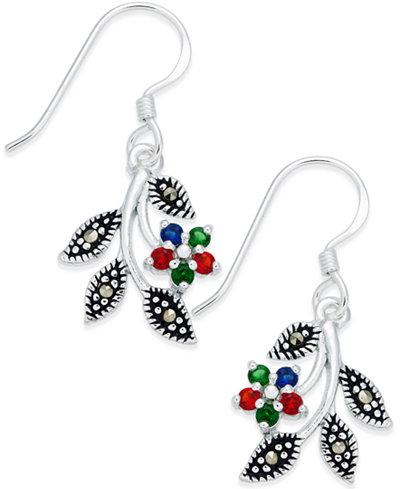 Cubic Zirconia & Marcasite Drop Earrings in Fine Silver-Plate
