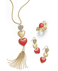 Thalia Sodi Gold-Tone Pavé Triple Heart Jewelry Separates, Created for Macy's