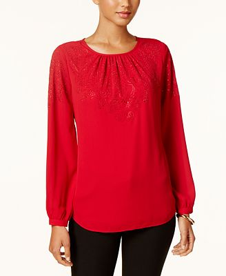 Charter Club Petite Embellished Top, Created for Macy's