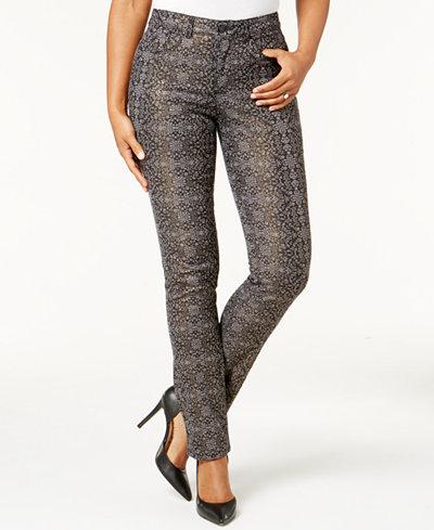 Charter Club Lexington Tummy-Control Straight-Leg Printed Jeans, Created for Macy's