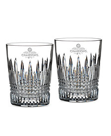 CLOSEOUT! Waterford Houston Astros 2017 MLB World Series Lismore Diamond Double Old Fashioned Pair