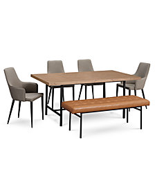 CLOSEOUT! Selena Dining Furniture, 6-Pc. Set (Dining Table, 4 Side Chairs & Bench), Created for Macy's