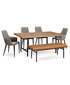 Selena Dining Furniture 6 Pc Set Table 4 Side Chairs Bench Created For Macys