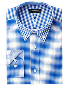 Nautica Men's Classic/Regular Fit Comfort Stretch Wrinkle Free Gingham Dress Shirt
