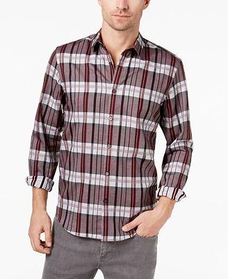 Alfani Men's Vintage Plaid Shirt, Created for Macy's