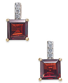Rhodolite Garnet (2-9/10 ct. t.w.) & Diamond Accent Drop Earrings in 14k Gold