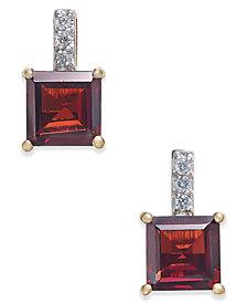Rhodolite Garnet (2-9/10 ct. t.w.) & Diamond Accent Drop Earrings in 14k Gold