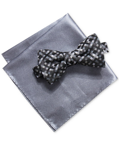 Alfani Men's Multi-Mini Gingham Bow Tie & Solid Pocket Square Set, Created for Macy's