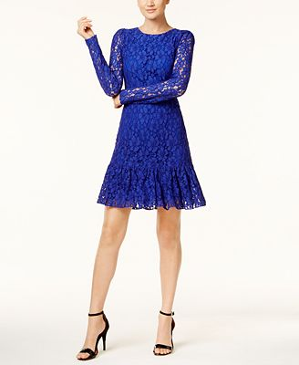 Calvin Klein Ruffled-Hem Lace Dress