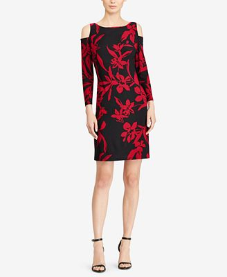 American Living Floral Cutout-Shoulder Dress