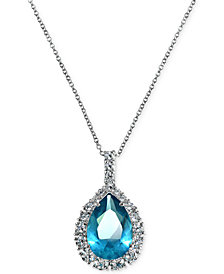 Giani Bernini Aqua & Clear Cubic Zirconia Pendant Necklace in Sterling Silver, Created for Macy's