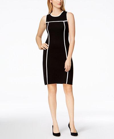 Calvin Klein Contrast-Trim Sweater Dress