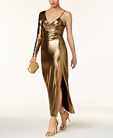Bardot Aurel One-Shoulder Metallic Gown