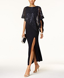 Sequined Lace Cape Gown