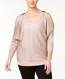 I.N.C. Plus Size Cold-Shoulder Sweater, Created for Macy's