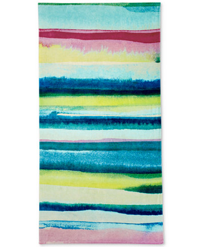 bluebellgray Lomond Cotton Velour Watercolor-Print Beach Towel