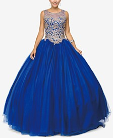 Juniors' Embellished Appliqué Gown